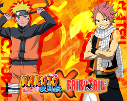 Wallpaper - NarutoXFairy Tail : Naruto and Natsu by DlynK