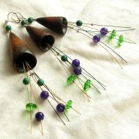 Jewellery set wood silver green glass beads stones by AmberSculpture