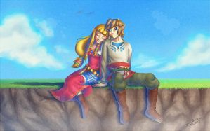 Skyward Sword: Link and Zelda by Zelbunnii