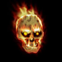 Skull + fire by DraconicX