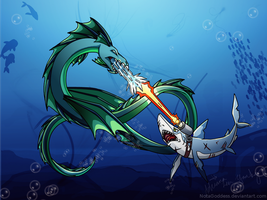 Dragon vs. Shark by NotAGoddess