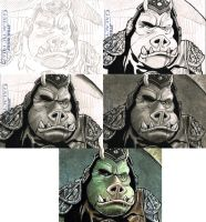 Gamorrean Guard sketchcard process by Frisbeegod