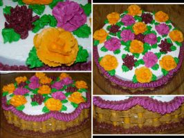 Autumn Flower Basket Cake by echochan