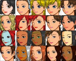 Disney Heroine Heads by ChrisFClarke