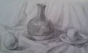 vase, apple and pear by Lothcarme