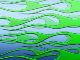 Flames - DayGlo green on blue by jbensch