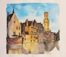 Bruges. Watercolor Buildings by RaulVincit