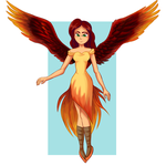 Nina the Phoenix Girl by SkyBlueArts
