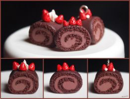 Chocolate Swiss Cake Miniature Clay by typochan