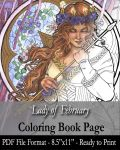 Coloring Book Page for Adults - Lady of February by AngelaSasser