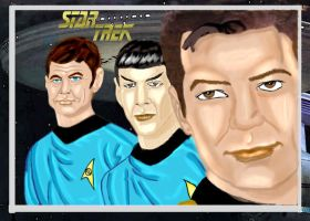 Kirk, Spock and MacCoy by Chimera9