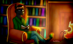 Library reading .:Commission:. by RachelTheFurry