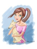 Girl and dog, chica y perro by aurangelica