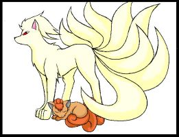Ninetails and vulpix by KiaTheWolf