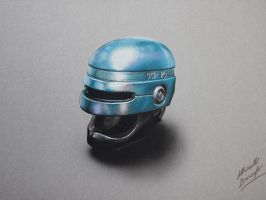 Drawing: Robocop helmet by marcellobarenghi