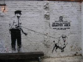 Police and Dog Banksy Graffiti by X-ray-Sez
