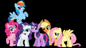 The Mane Six in Pixelization! by LegoGuy87