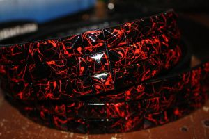 Black and Red Studded Belt by ThatFreakYouHate