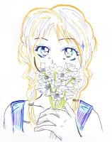 Ichigo with flowers doodle by CandraRose
