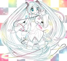 Rainbow Check - Miku T-shirt design by ICanReachTheStars