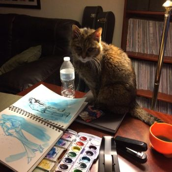 Painting with Cats by jwebsterart