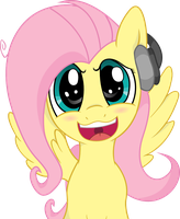 Fluttershy with headphones (Vector) by amazingmax