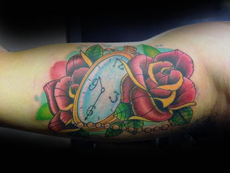 Pocket watch and roses by DREIII