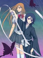 Bleach _ Rukia and Orihime by bms-bal