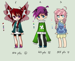 My first adoptables (Closed) by KillyPopp