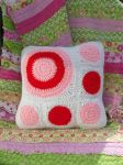 Pink,Red, And White  Pillow by akane0
