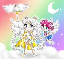 Sailor Cosmos and Chibichibi by drewbiedooah