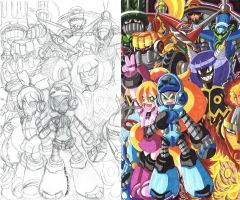 Mighty No. 9 fan art sketch and color 01 by d13mon-studios