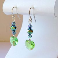 Peridot and Indian Sapphire Heart Earrings by lulabug