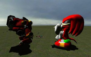 Giant Knuckles Vs. Eggman's Robot by NikeMan223