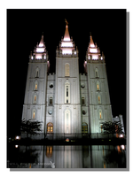 Salt Lake Temple Night Reflection by WillFactorMedia