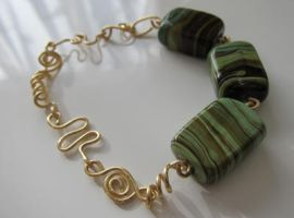 Shades of Green Crazy Wire Bracelet by madewithloveL