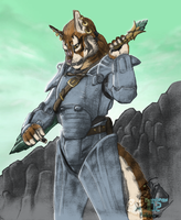 Khajiit in Power Armor by FrostWyrm102