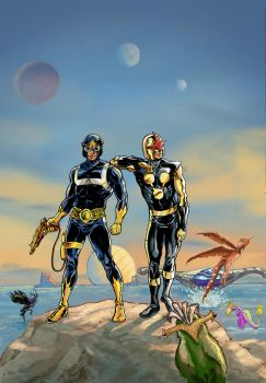 nova and starlord pin up by wanderlei78