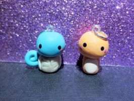 Squirtle and Charmander Chibi Charms by MissKawaiiKenzie