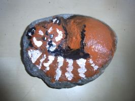 Rock painting - Red Panda by ArcticIceWolf