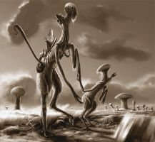 Alien Parenthood Sepia by Abiogenisis