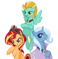 Evil harmony - Sunset Shimmer/Trixie/Lightning Dus by witchkirke