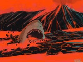 Fire-Breathing Lava Shark by SemiSolidLines