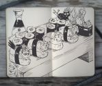 #102 Sushi Cats by 365-DaysOfDoodles