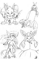 Sketch Set 47 (Big Eeveelutions) by Alef-GP