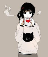 Anime cat coffe girl by amuletdream1