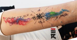 Water color compass tattoo by enhancertattoo