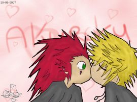 Axel and Roxas Kiss by Kelkadra