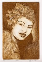 Billie Holiday Etching by RatWrangler