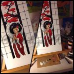 Afro geisha painting WIP by KPhillips702